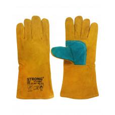 Краги утепленные спилковые,желтые с бирюзовым ,усиление большого пальца, мутон