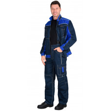 "Костюм ""СИРИУС-Престиж-Люкс"" куртка, брюки синий с васильковым пл. 275 г/кв.м"