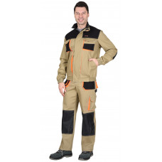 """Костюм """"СИРИУС-МАНХЕТТЕН"""" куртка, брюки песочный с оранж. и черным тк. стрейч пл. 250г/кв.м"""