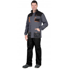 """Куртка """"СИРИУС-МАНХЕТТЕН"""" т.серый с оранж. и черным тк. стрейч пл. 250 г/кв.м"""