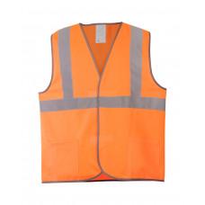 Жилет сигнальный оранж тип 2 (1гор.,2верт.СОП), карманы, класс2, трикотаж п/э 130гр/м2