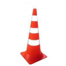 Конус сигнальный дорожный КС-3.5 750 мм. мягкий оранжевый с двумя белыми полосами и СОП