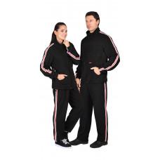 Куртка  флисовая черная с лампасной лентой