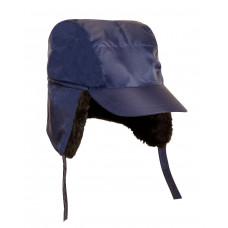 Кепи утеплённая с мехом (тк. Оксфорд) т.синяя