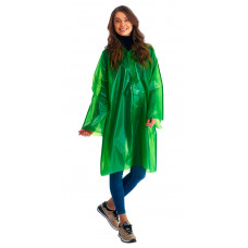 """Плащ-дождевик """"Сириус-Люкс"""" на липучке ПВД 80 мкр. зеленый, пропаянные швы (х50)"""