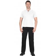 Рубашка-поло короткие рукава белая, рукав с манжетом, пл. 180 г/кв.м.
