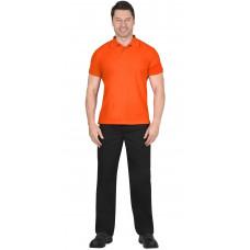 Рубашка-поло короткие рукава оранжевая, рукав с манжетом, пл. 180 г/кв.м.