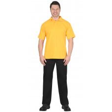 Рубашка-поло короткие рукава желтая, рукав с манжетом, пл. 180 г/кв.м.