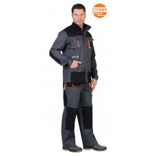 """Костюм """"СИРИУС-МАНХЕТТЕН"""" куртка дл., п/к т.серый с оранж. и черным тк. стрейч пл. 250 г/кв.м"""