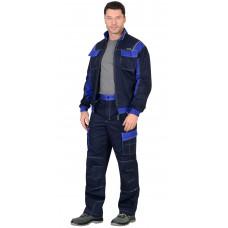 """Костюм """"СИРИУС-Карат"""" куртка, брюки т.синий с васильковым 80% х/б, МВО пл. 255 г/кв.м"""