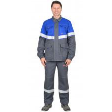 """Куртка """"СИРИУС-Самотлор"""" длинная, серый с васильковым, 80% х/б, 20% п/э, антистатическая нить"""