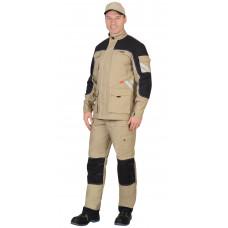 """Костюм """"СИРИУС-Вест-Ворк"""" куртка, брюки песочный с черным пл. 275 г/кв.м"""