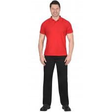 Рубашка-поло короткие рукава красная, рукав с манжетом, пл.180 г/кв.м