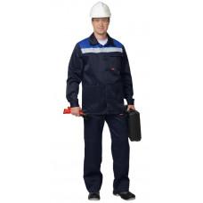 "Костюм ""СИРИУС-Стандарт"" куртка, брюки т.синий с васильковым СОП 50 мм"