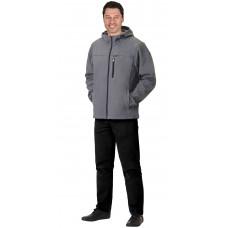 """Куртка """"СИРИУС-Азов"""" с капюшоном серый  софтшелл пл 350 г/кв.м"""