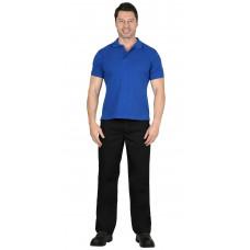 Рубашка-поло короткие рукава васильковая, рукав с манжетом, пл. 180 г/кв.м.
