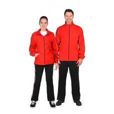 Куртка  флисовая красная с лампасной лентой