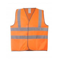 Жилет сигнальный оранж тип 3 (2 гор., 2верт. СОП), карманы, класс2, трикотаж п/э 130гр/м2